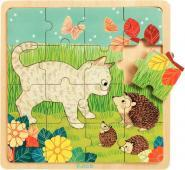 LOT 3 PUZZLES BOIS ANIMAUX 15/16 PIECES