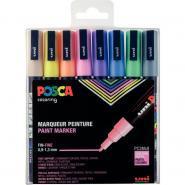 Pochette de 8 marqueurs POSCA pointe fine ogive pastel