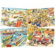 Puzzles à cadre en carton 35 pièces la ville - Lot de 4