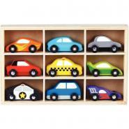 Coffret de 9 véhicules en bois
