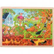 Puzzle à cadre en bois de 96 pièces - Le jardin