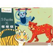 Puzzle contour animaux de la jungle - Boite de 3