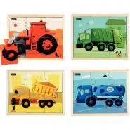 Puzzles les engins en couleurs NATHAN - Lot de 4