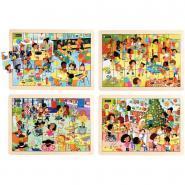 Puzzles les fêtes à l'école NATHAN - Lot de 4