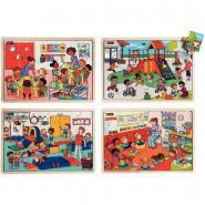 Puzzles Ensemble à l'école NATHAN - Lot de 4