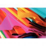 Papier crépon supérieur - 250x50 cm - Couleurs assorties - Paquet de 10 feuilles