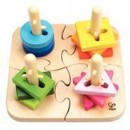 Puzzle à boutons créatif en bois