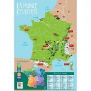 Poster pédagogique en PVC - 76x52 cm - La France des reliefs et des fleuves