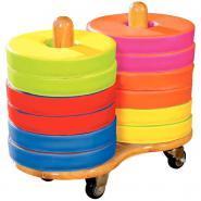 Chariot en bois + 12 coussins bi-colores en mousse