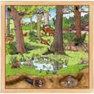 Puzzle d'observation de  64 pièces - La forêt au printemps / été
