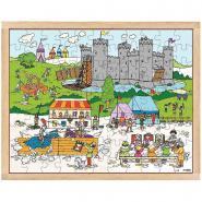 """Puzzle en bois de 99 pièces """"Le château médiéval"""""""
