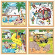 """Puzzle de  49 pièces """"Les vacances"""" - Lot de 4"""
