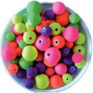 Perles rondes florescentes en plastique - Pot de 100g