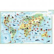 """Djeco - Puzzle 100 pièces """"les animaux du monde""""."""