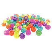 Perles plastique cassis pailletées - Sachet de 1 000