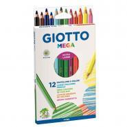 Crayons de couleur hexagonaux Giotto Mega - Etui de 12