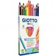 Crayons de couleur Giotto Mega Tri - Etui de 12