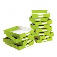 Bacs de rangement verts - Grand modèle - Lot de 6