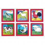 """Puzzles en plastique """"les animaux de la ferme"""", 9 pièces - Lot de 6"""