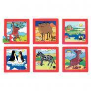 """Puzzles en plastique """"les animaux du zoo"""", 9 pièces - Lot de 6"""
