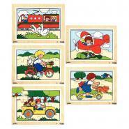 Puzzles en bois de 12 pièces les moyens de locomotion - Lot de 5