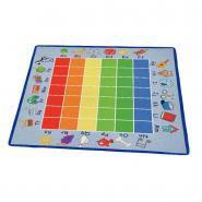 Tapis 200x200cm de reconnaissance des couleurs et des lettres majuscules et minuscules