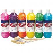 Carton de 6 flacons de 500ml de gel pailleté coloris arc en ciel : violet, rose, jaune, bleu, orange et vert