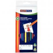 Crayons de couleur triangulaires pointe moyenne assortis - Pochette de 12