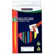 Crayons de couleur triangulaires pointe large assortis - Pochette de 12