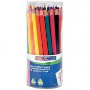 Crayons de couleur triangulaires pointe large assortis - Pot de 48