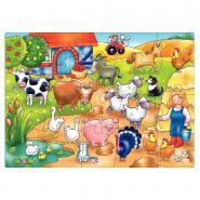 """Puzzle de 20 pièces """"Qui vit dans la ferme?"""""""