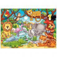 """Puzzle de 25 pièces """"Qui vit dans la jungle?"""""""