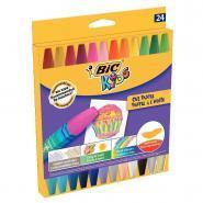 Etui de 24 pastels à l'huile Bic Kids - Couleurs assorties dont fluo et métalliques