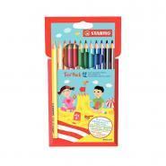 Crayons de couleurs assorties triangulaire - Lot de 12 pochettes de 12