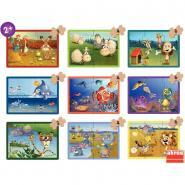 Valisette de 9 puzzles progressifs animaux en carton