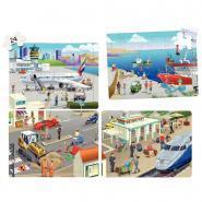"""Puzzle soft de 24 pièces 4 en 1 """"La ville"""" - Lot de 4"""