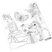 Rouleau fresque à colorier adhésif repositionnable, décor filles