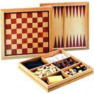 Coffret en bois échecs, dames, et backgammon