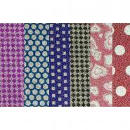 Feuilles pailletés adhésives motifs imprimés - Pochette de 6