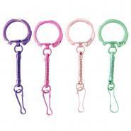 Porte-clés métallisés avec mousqueton, coloris assortis - Sachet de 10