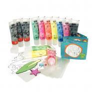 Peinture repositionnable ARTI'STICK + accessoires, couleurs assorties - Boite de 13 tubes de 75ml