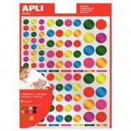 Agipa - Gommettes ronde métallisée couleurs assorties - Pochette de 624