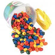 Perles en plastique - 7 formes et 5 couleurs - Seau de 245
