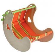 Porte poupée en bois basculant avec capote amovible en tissu