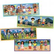 Puzzle galerie 6 pièces, les familles - Lot de 4