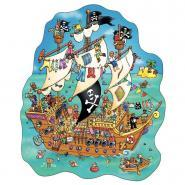 Puzzle contour 100 pièces - Le bateau des pirates