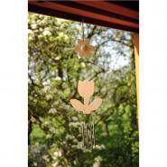 Carillons fleurs, en bois - Lot de 5