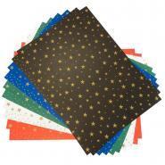 Carton motifs étoiles assorties format 50 x 70 cm - Paquet de 10 feuilles