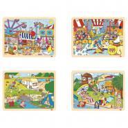 Puzzle à cadre en bois 24 pièces, LES LOISIRS - Lot de 4