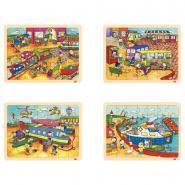Puzzle à cadre en bois 35 pièces, LES TRANSPORTS - Lot de 4